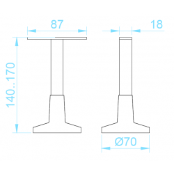 MH-18/25 láb, rozsdamentes méretek