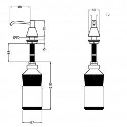 M-T118C szappanadagoló méretek